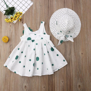 Polka Dot Floral Sleeveless Dress Sunhat Outfit (2 Colors) - Bitsy Bug Boutique
