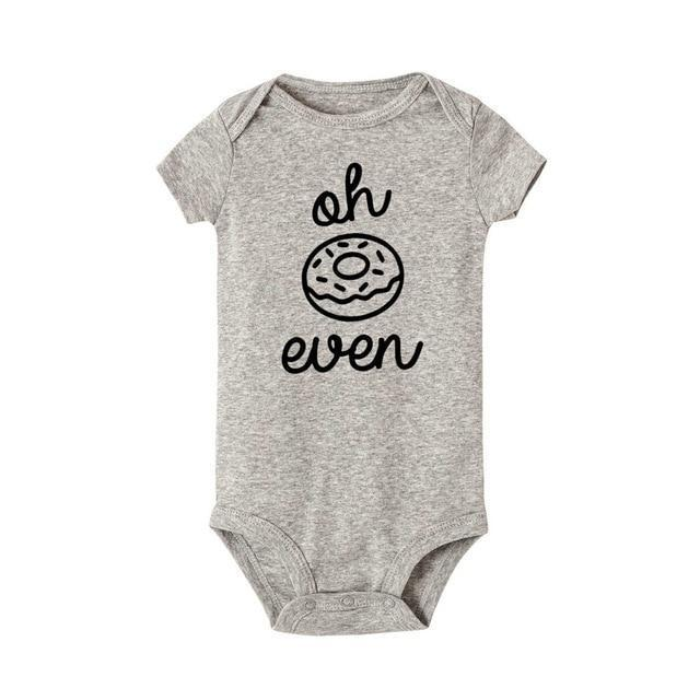 Oh Donut Even Onesie Gray/black / 12 Mo
