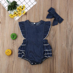 Denim Ruffled Romper + Bow Headband - Bitsy Bug Boutique