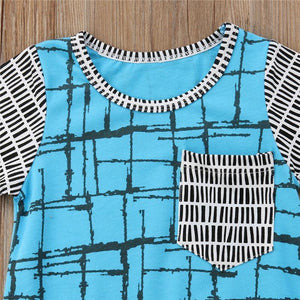 Teal Abstract Romper - Bitsy Bug Boutique