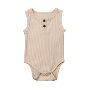Casual Cotton Onesie (Multiple Colors) Beige / 3 Mo