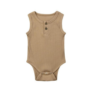 Casual Cotton Onesie (Multiple Colors) Brown / 3 Mo