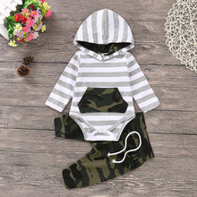 Hooded Camo & Stripes Top & Pants Set