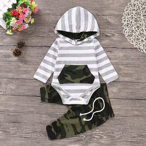 Hooded Camo & Stripes Top & Pants Set - Bitsy Bug Boutique