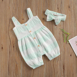 Striped Button Romper with Bow