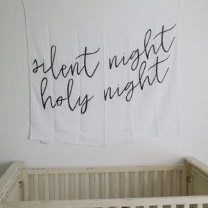 Modern Burlap - Organic Cotton Muslin Swaddle Blanket - Silent night - Bitsy Bug Boutique