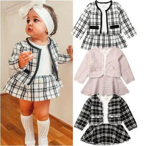 Plaid Dress with Overcoat