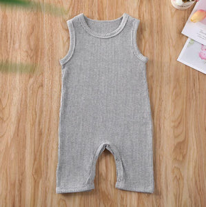 Sleeveless Solid Ribbed Onesie