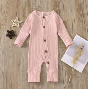 Solid Ribbed Button Baby Onesie