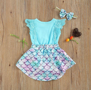 Mermaid Scale Dress with Headband