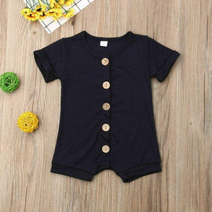 Short Sleeve Solid Button Romper