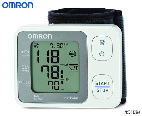 Omron HEM 6131 Fully Automatic Wrist Type Digital Blood Pressure Monitor With Intellisense Technology, Positioning Sensor & Cuff Wrapping Guide For Most Accurate Measurement
