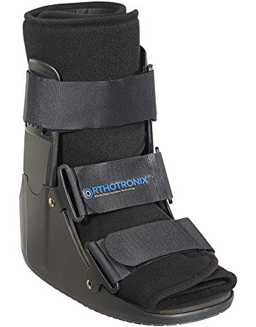 walker  boot used for soft tissue injuries, grade 2 and 3 sprains, stable fractures and post-operative stabilization. Helps reduce pain, swelling and edema of foot and ankle