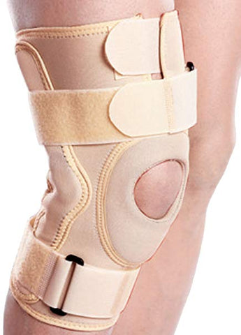 Knee support Hinged (Neoprene) is a versatile knee support which offers the advantage of controlled compression around the knee and the rigid side support of a splint.