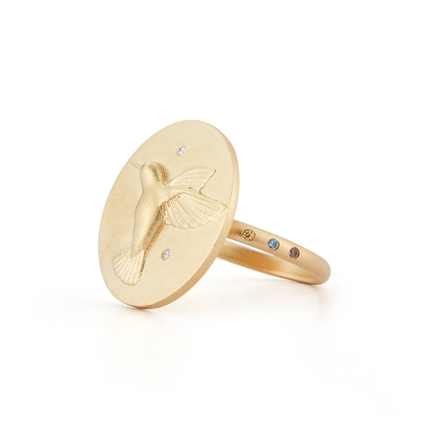 Hummingbird Solid 14K Gold Ring with Diamonds