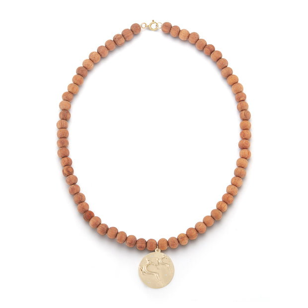 Gazelle Gold Plate Wood Bead Charm Necklace with Diamonds