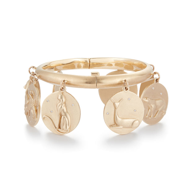 Star Animals Solid 14K Gold Charm Bracelet with Diamonds