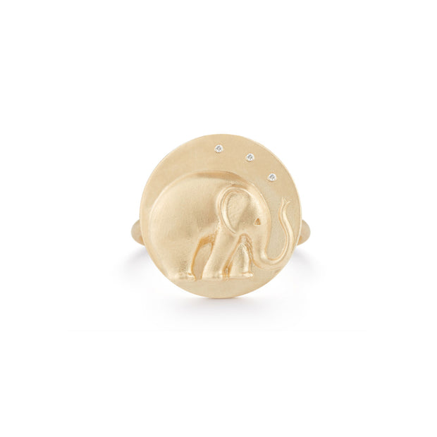 Elephant Solid 14K Gold Ring with Diamonds