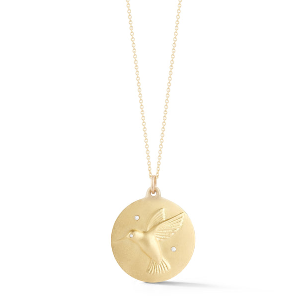 Hummingbird Gold Plate Charm Chain Necklace with Diamonds