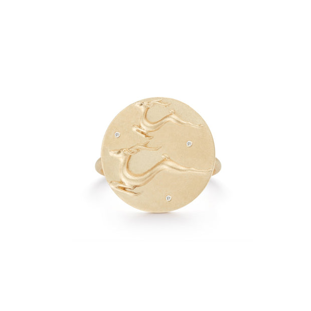 Gazelle Solid 14K Gold Ring with Diamonds