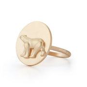 Polar Bear Gold Plate Ring without Stones