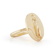 Cat Gold Plate Ring without Stones