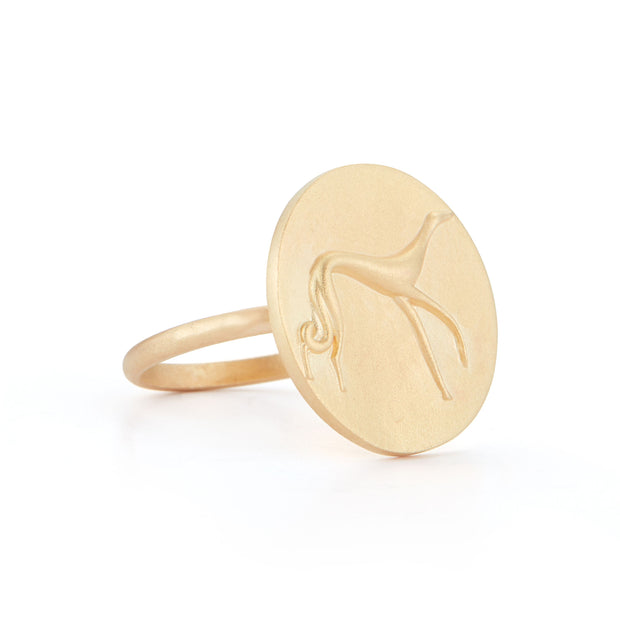 Hound Gold Plate Ring without Stones