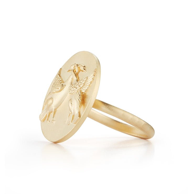 Swan Gold Plate Ring without Stones