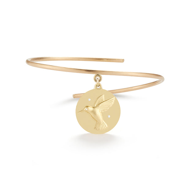 Hummingbird Solid 14k Gold Charm Bangle with Diamonds
