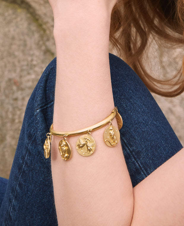 Star Animals Pulsera con dije de oro macizo de 14 quilates con diamantes