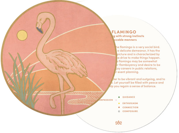Flamingo Solid 14K Gold Wood Bead Charm Necklace with Diamonds