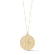 Butterfly Solid 14K Gold Charm Chain Necklace with Diamonds