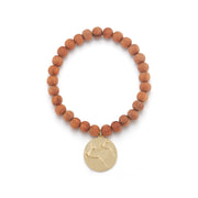 Gazelle Gold Plate Wood Bead Charm Bracelet without Stones