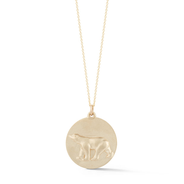 Polar Bear Gold Plate Charm Necklace without Stones
