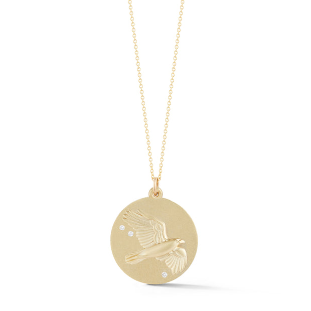 Hawk Solid 14K Gold Charm Chain Necklace with Diamonds