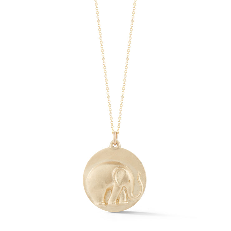 Elephant Gold Plate Charm Necklace without Stones