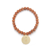 Flamingo Solid 14K Gold Wood Bead Charm Bracelet with Diamonds