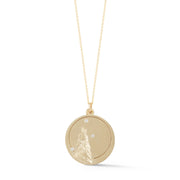 Wolf Solid 14K Gold Charm Chain Necklace with Diamonds