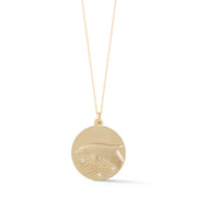 Dolphin Solid 14K Gold Charm Chain Necklace with Diamonds