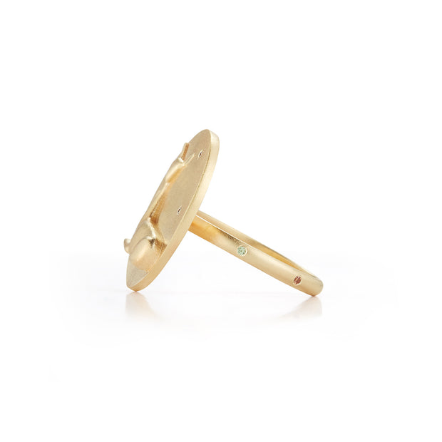 Doe Solid 14K Gold Ring with Diamonds