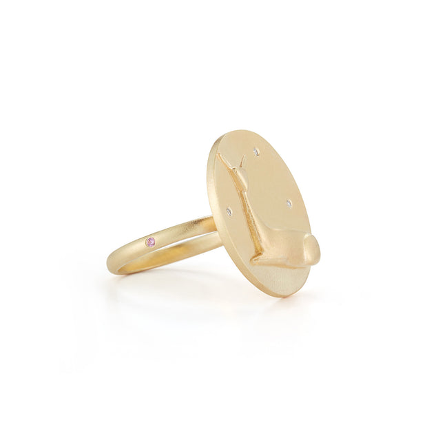 Doe Gold Plate Ring with Diamonds