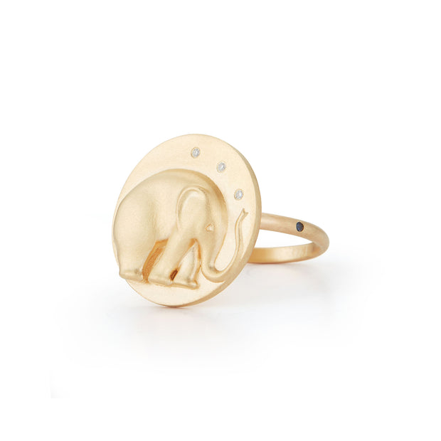 Elephant Gold Plate Ring with Diamonds