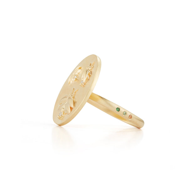 Firefly Solid 14K Gold Ring with Diamonds