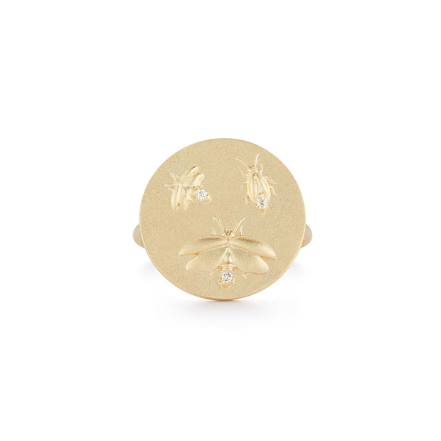 Firefly Gold Plate Ring with Diamonds