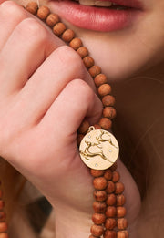 Swan Solid 14K Gold Wood Bead Charm Necklace with Diamonds