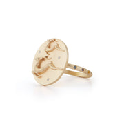 Gazelle Gold Plate Ring with Diamonds