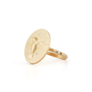 Hummingbird Gold Plate Ring with Diamonds