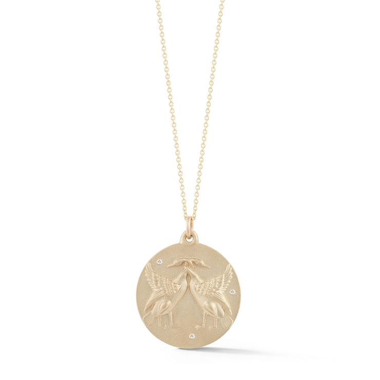 Swan Gold Plate Charm Chain Necklace with Diamonds