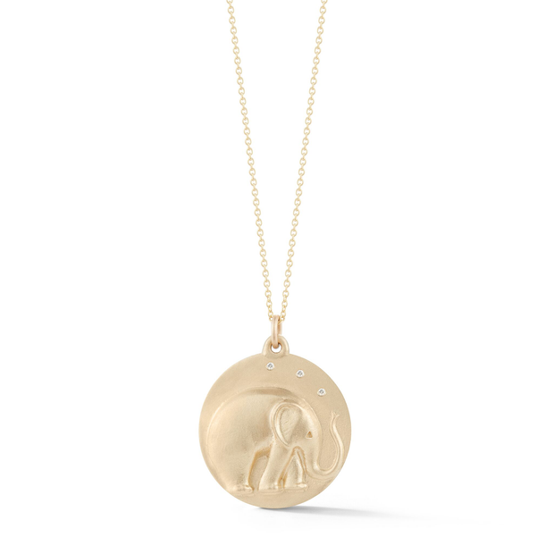 Elephant Gold Plate Charm Chain Necklace with Diamonds