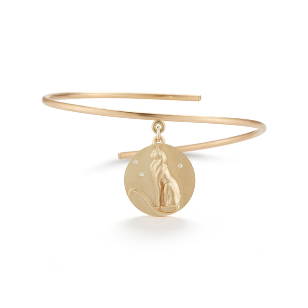 Cat Solid 14K Gold Charm Bangle with Diamonds